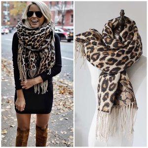 Accessories - Leopard Animal Print Tassel Blanket Scarf Poncho
